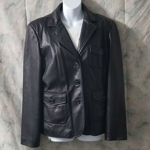 Anne Klein black lambskin leather jacket sz L